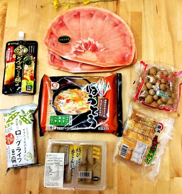 中間那包便是新嘗試餺飥(ほうとう)了。另還有沖繩豬肉片,平菇,竹輪,蒟蒻,豆腐和火鍋醬料。