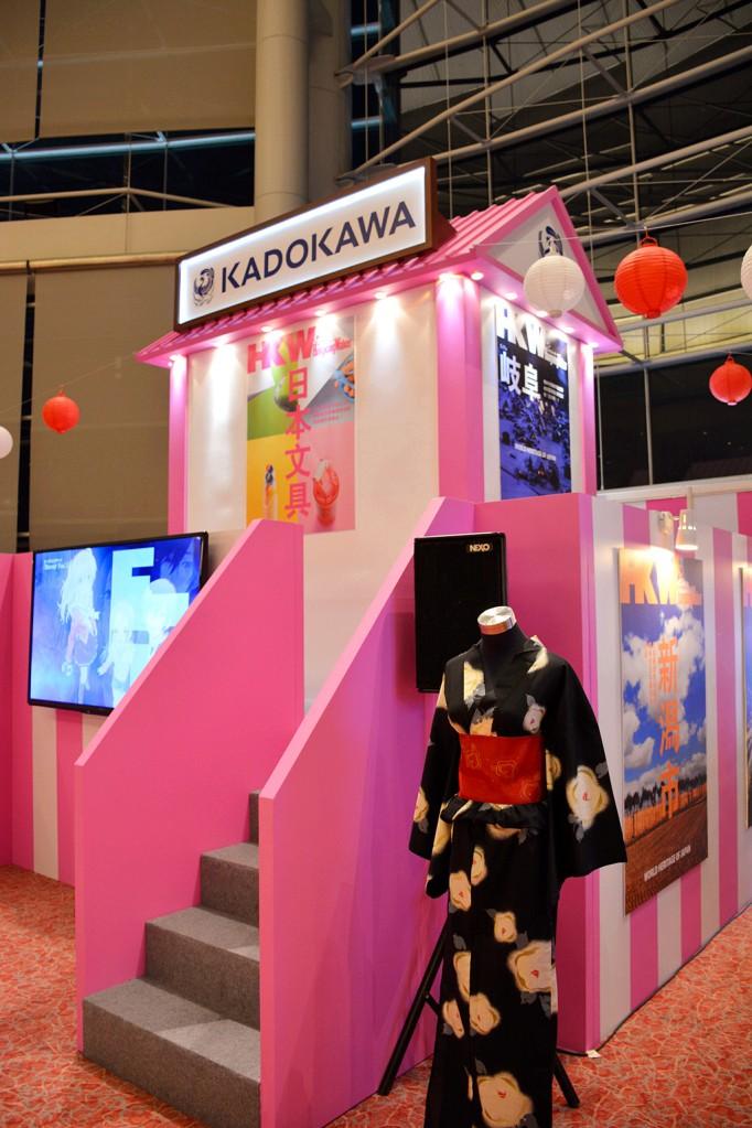 角川集團在日本館有一個大攤位,旁邊有動漫和浴衣試穿的活動。